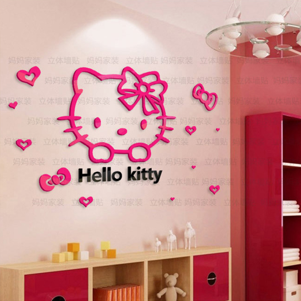 Yo yo check now crystal hello kitty cartoon wall stickers for child room