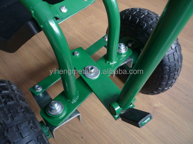 garden seat on wheels. garden work seat / rolling cart with wheels on