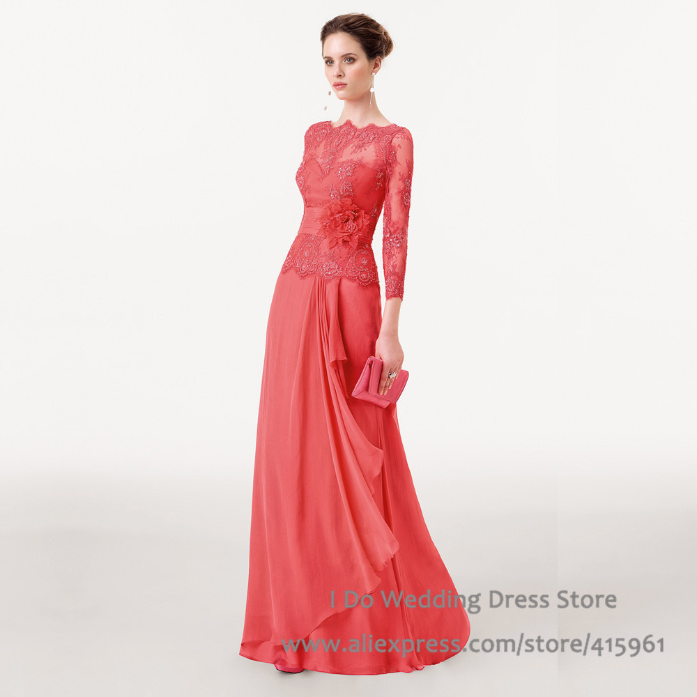 Elegant Long Lace Red Evening Dresses 2015 Long Sleeve Prom Gowns Flowers Bateau Tassel Vestido de Fiesta Longo E6167