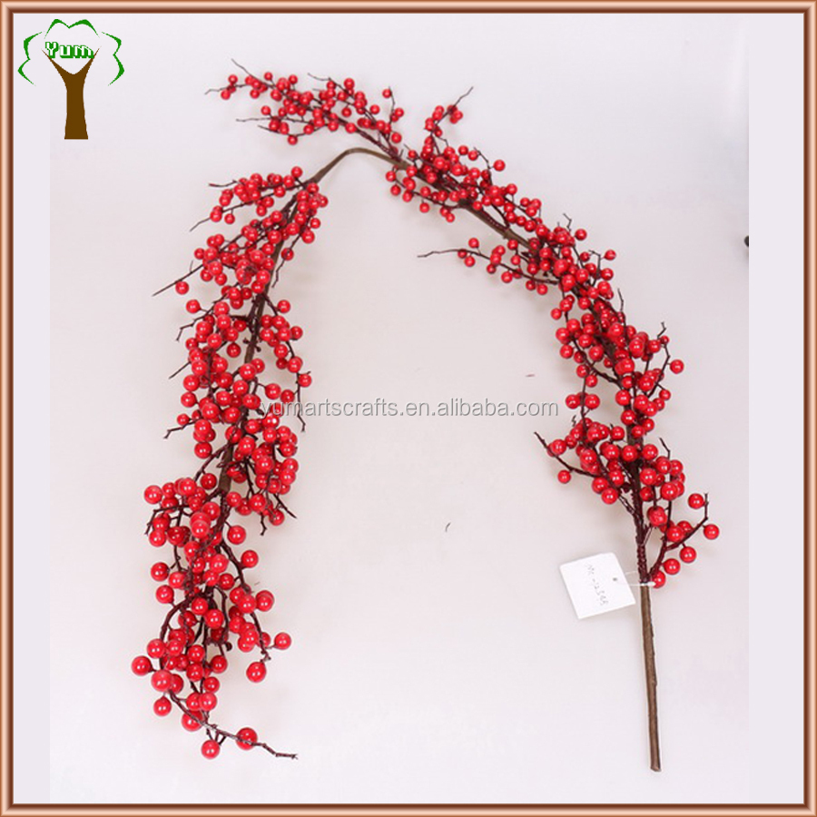 Artificial Red Berry Red Haw Fruits Branch Wholesale