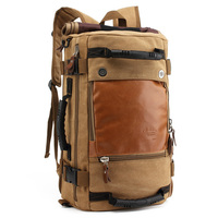 Wholesale Custom Large Capacity Multifunctional Waxed Vintage Rugged PU Leather Canvas Backpack