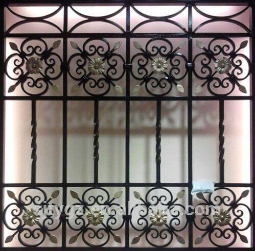 Elegant Decorative Iron Window Grill Design From Guangzhou Suji