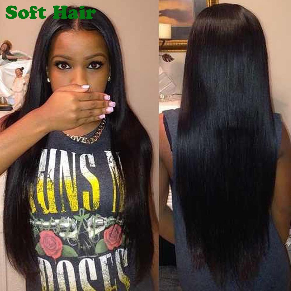 Elastic Band Brazilian Hair Glueless Full Lace Wig With Baby Hair Fo