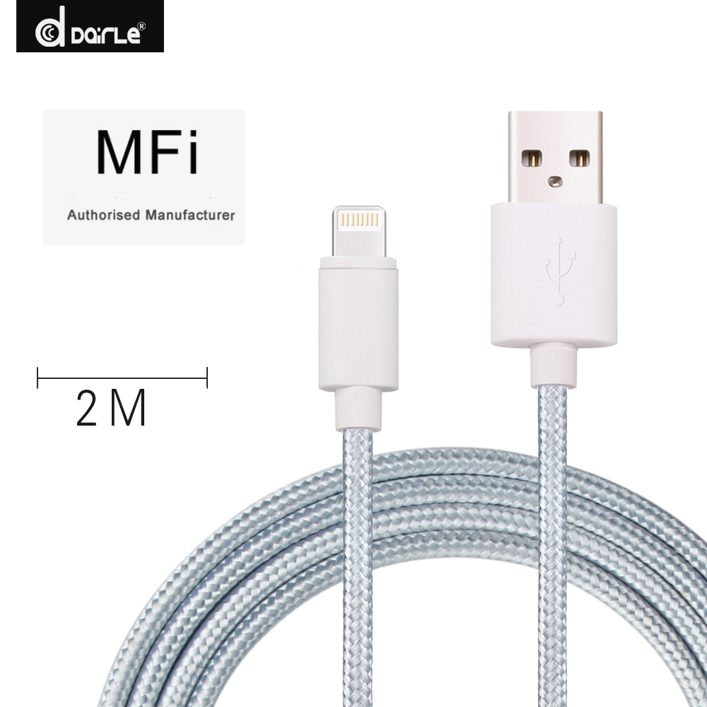 Original MFI certificate nylon charging data transfer cable 2m for iphone 7