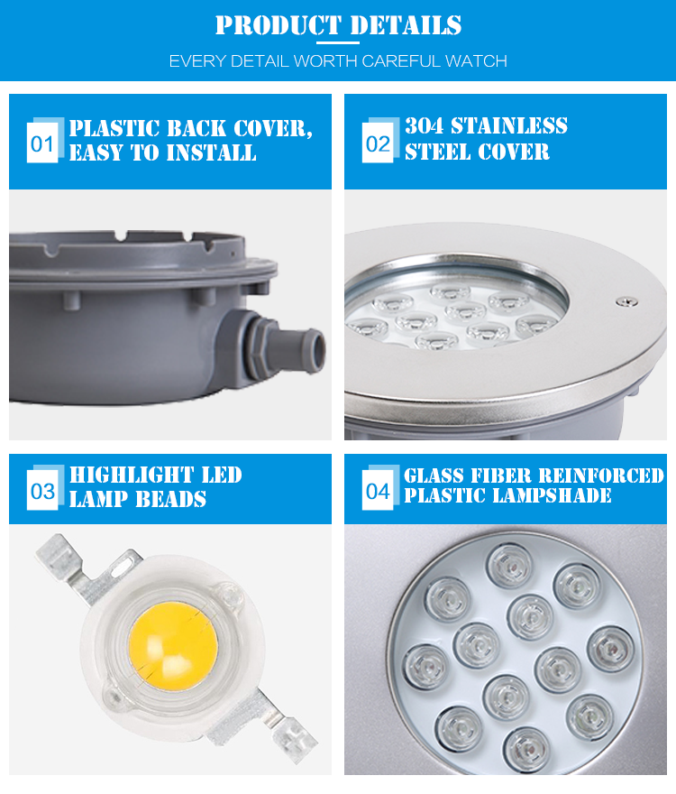 Different Power RGB Ip68 Recessed LED Swimming Pool Light