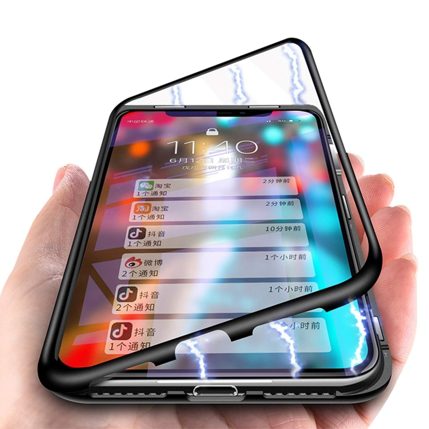 Essager Ultra Magnetic Adsorption Phone Case For iPhone X 10 8 7 Plus Metal Magnet Absorption Back Glass Cover Flip Case (Transparent Black, For iPhone X)