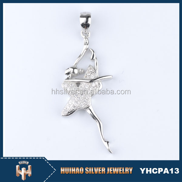 Fashion Exquisite Elegant Ballet Dancer Girl 925 Silver Meaningful Pendant Necklace ,Wedding Locket Name Design Pendant