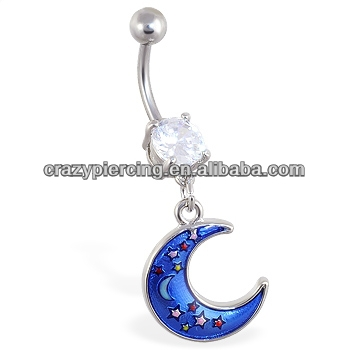 Double jeweled belly button ring with dangling moon with stars bunny piercing Jewelry