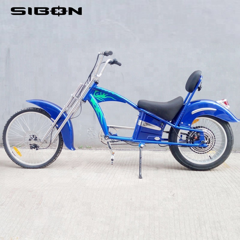 SIBON 1000w lithium battery suspension fork disc brake blue 1000w electric chopper <strong>bicycle</strong> for adults