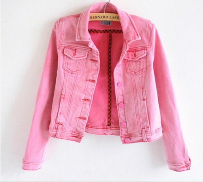 C83295a Candy-colored Denim Jacket/lady Short Pink Denim Coat ...