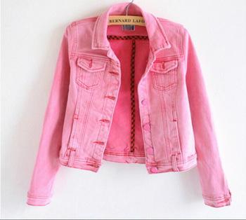 C83295a Candy-colored Denim Jacket/lady Short Pink Denim Coat ...