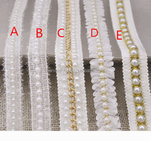 Diy ribbon handmade beaded lace for dress skirt,cuff collar pearl lace,Home accessories wholesale