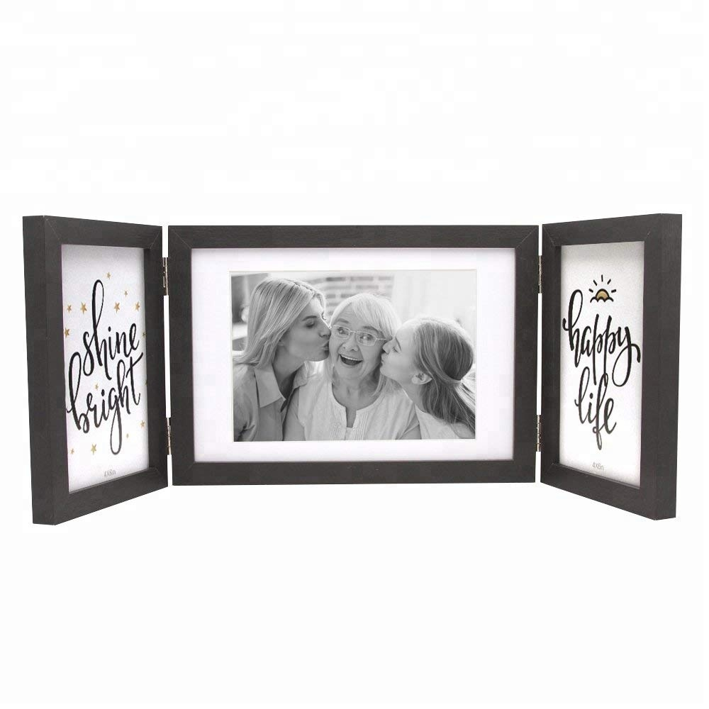 4x6 and 5x7 Black Collage Wooden Foldable Photo Frames for 3 Opening wedding picture frames