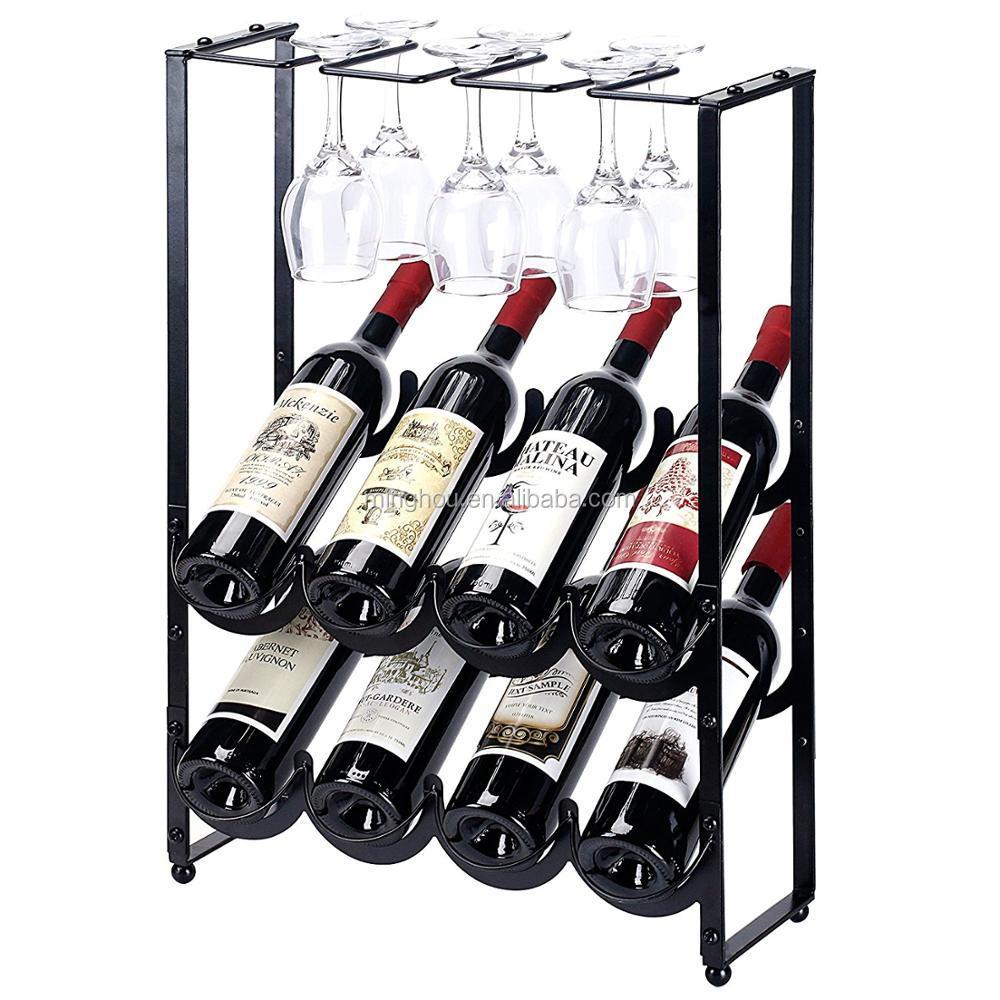8 Bottle Floor Standing Countertop Metal Wire Wine Rack With Wine