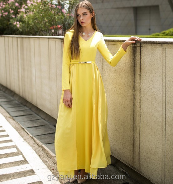 Yellow Long Dresses Casual