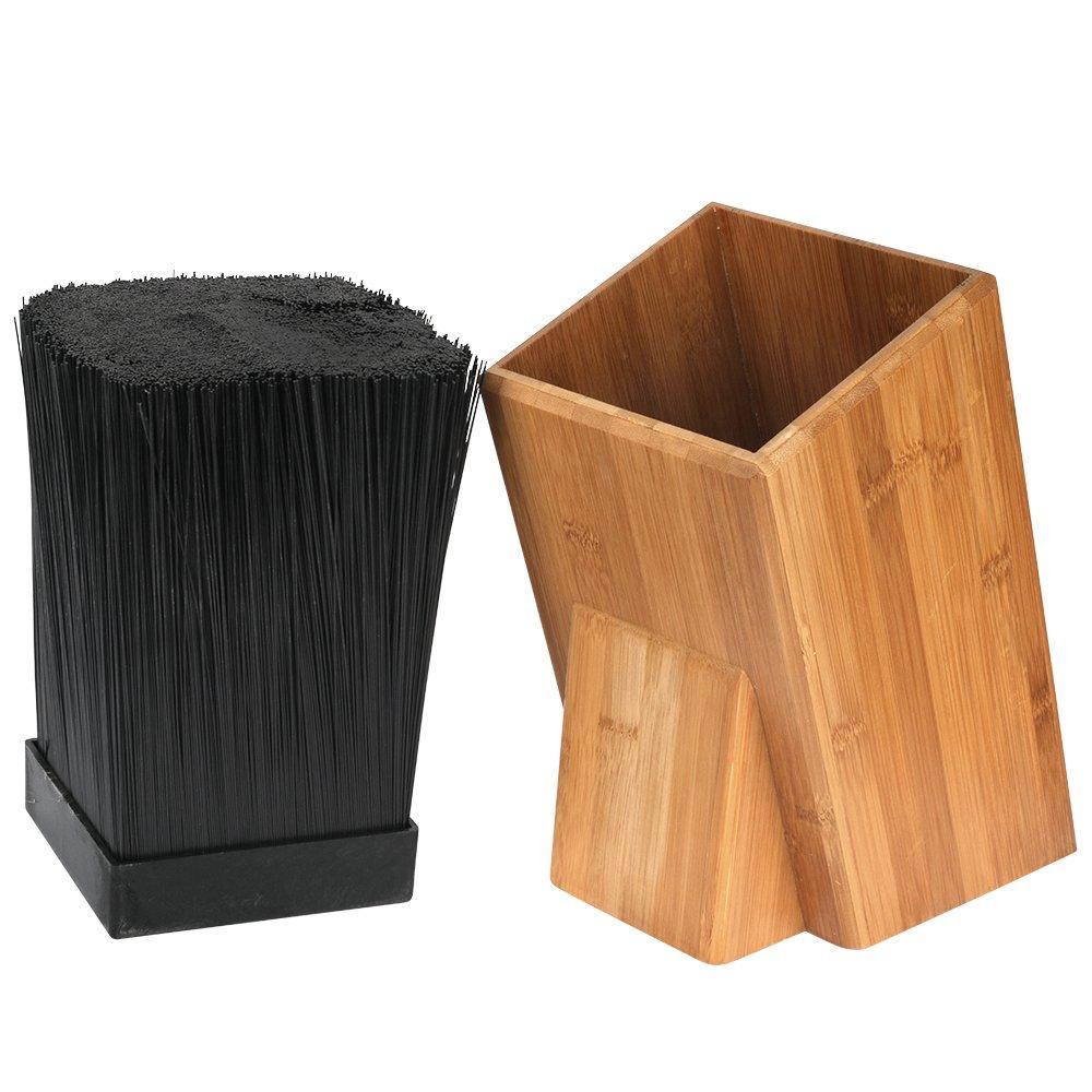 Universal bamboo knife block storage holder organizer