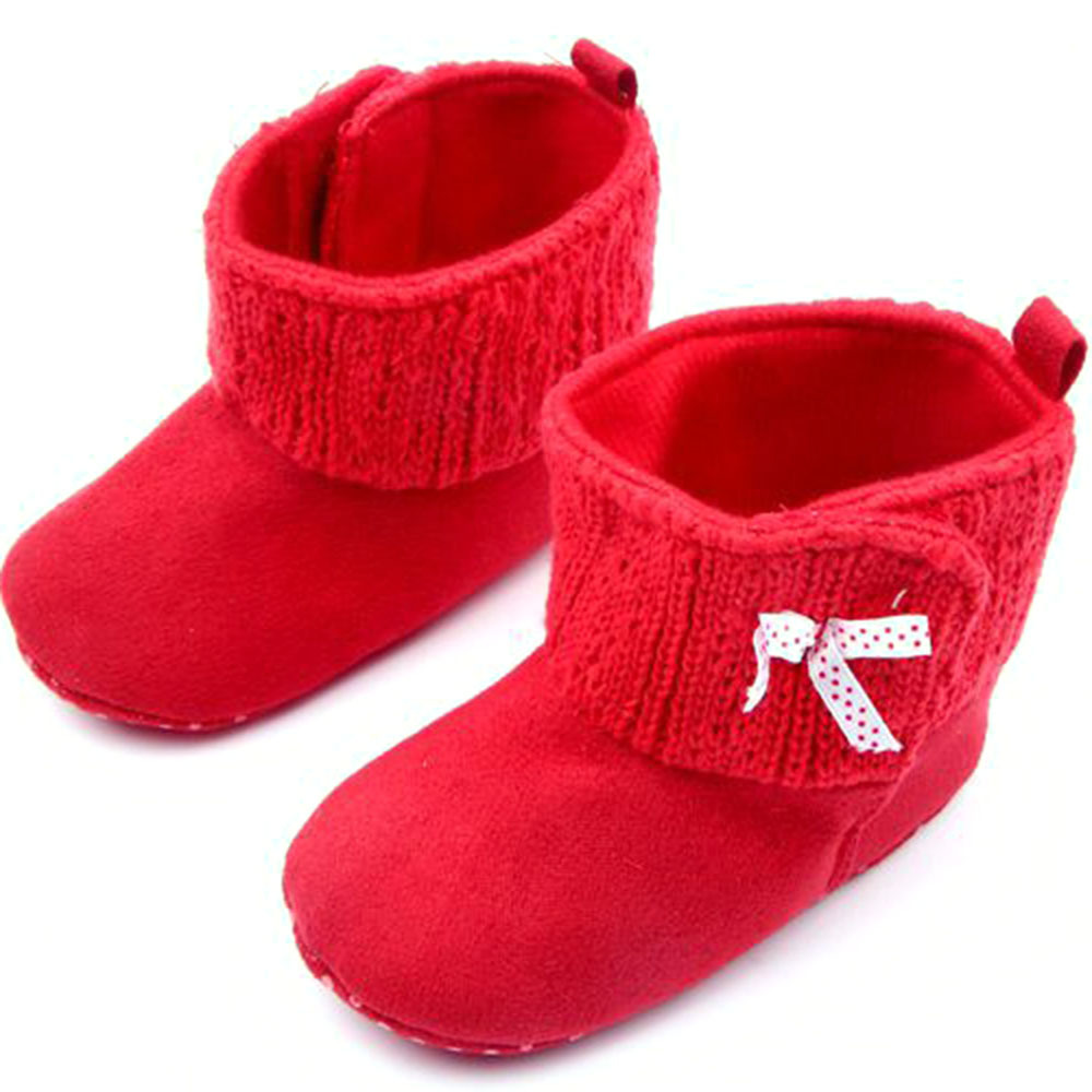 32cc3257fb4 Infant Baby Booties Girl Todder Red Soft Sole Winter Prewalker Boots Shoes  0-12M Free   Drop shipping