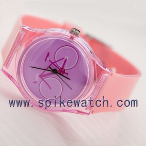 Pink Color Bike Print New Product Slim Case Girls Watch No Numbers