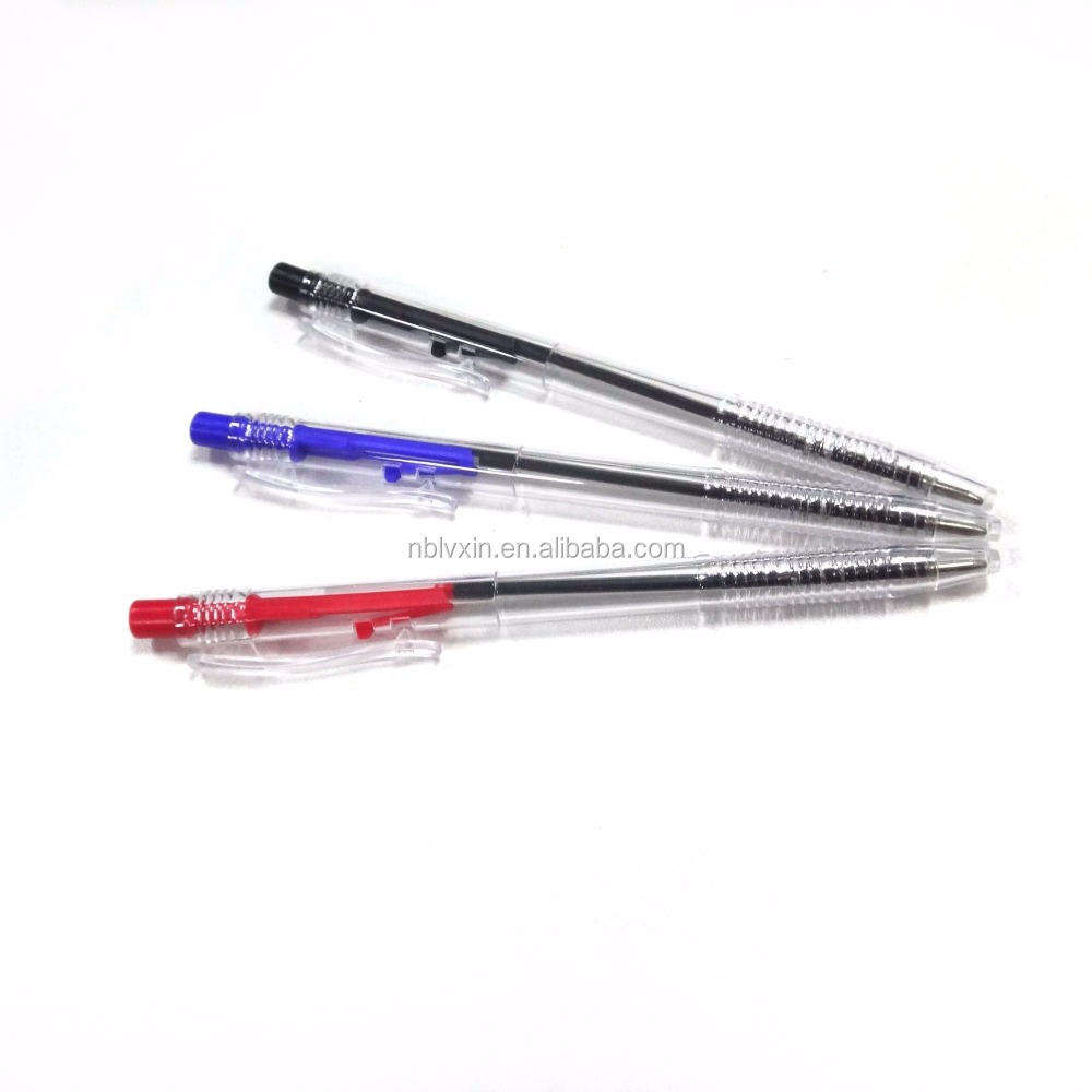 White transparent plastic automatic ball pen, spring ball pen