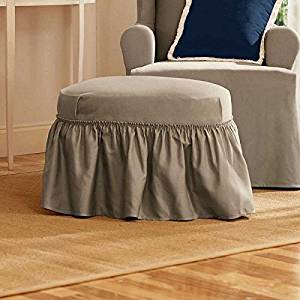 Sure Fit Duck Solid - Ottoman Slipcover  - Linen (SF14390)