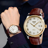 SKMEI leather watches for men brand watches men wrist luxury western watches with prices