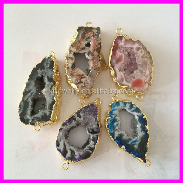 GZKJL-CT0228 Agate Mixed Colors Geode Brown Leopard Agate Druzy Nature Agate Druzy Slice Stone