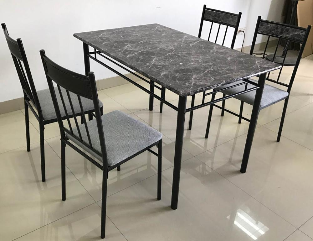 Faux Marble Wooden Dining Table Set