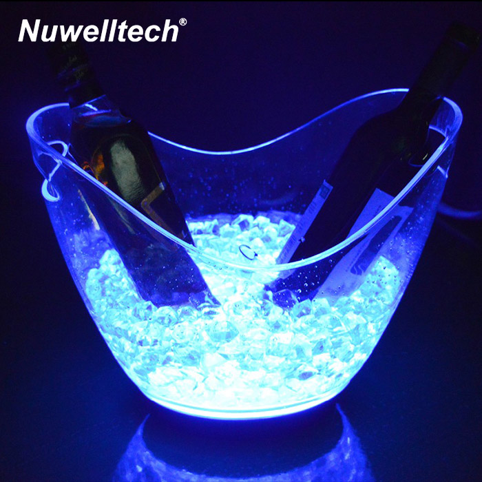 China Wholesale Beer Wine Champagne Acrylic 4L Custom Led Ice Cooler Bucket