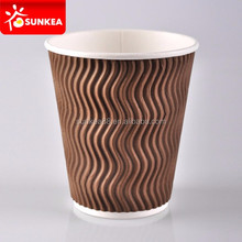 Logo printed disposable insulated coffee triple wall twist paper cup
