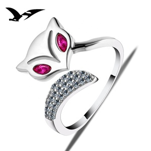 Adjustable Girl Engagement Fox 925 silver Ring with top quality zircon