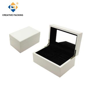 White High Gloss Lacquered Finish Noble Wooden Ring Jewelry Gift Packaging Box
