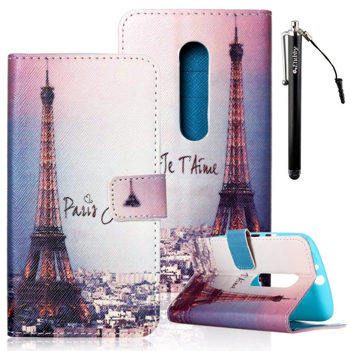 Moto G3 Case, Motorola Moto G (3rd Gen) Case, Etubby [Stand Feature] Premium PU Leather Wallet Flip Protective Case with Magnetic Clasp & Card Slots for Motorola Moto G (3rd Gen, 2015) - Eiffel Tower