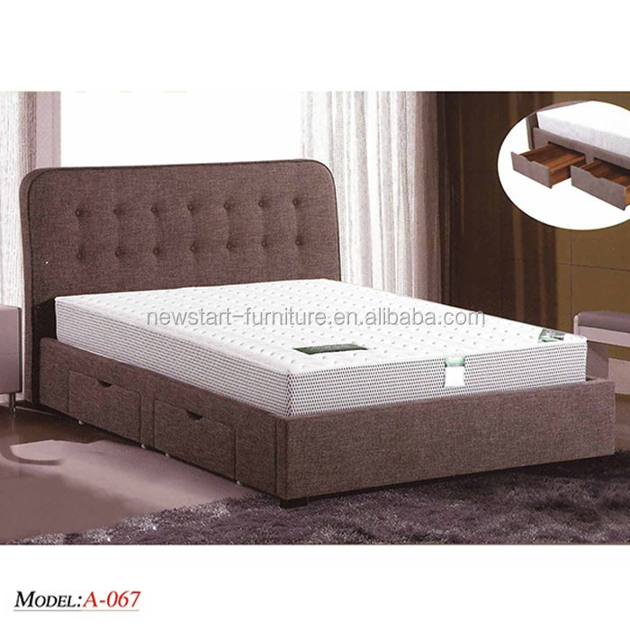 MB-067 King size fabric <strong>bed</strong> with drawer