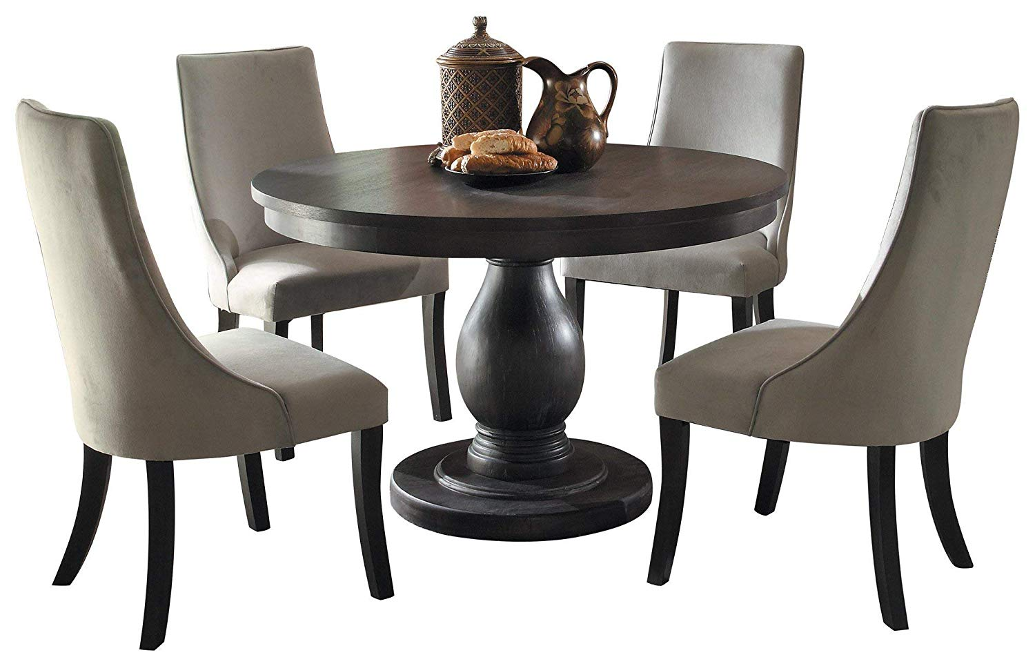 Dakins 5PC Dining Set Round Table & 4 Chair in Rustic Brown