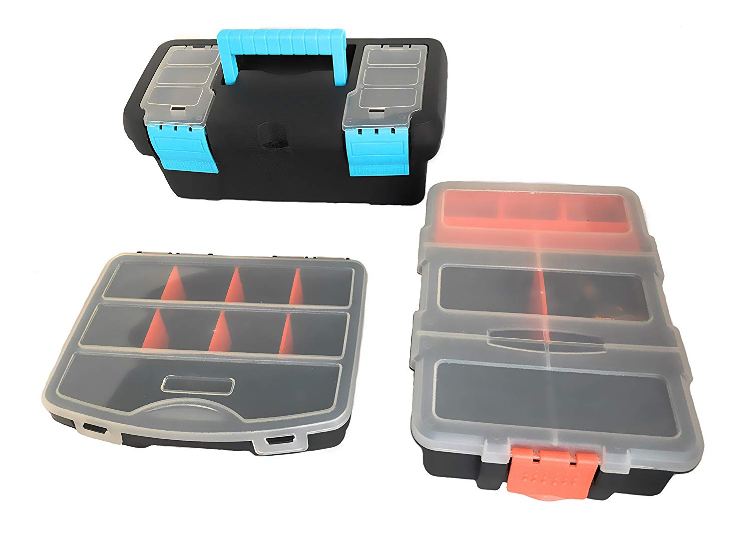 3 Arts and Crafts Supplies Storage Containers With Compartments | Size Adjustable Storage Box With Compartments | Hobby Organizer Box | Small Tool Box Set of 3