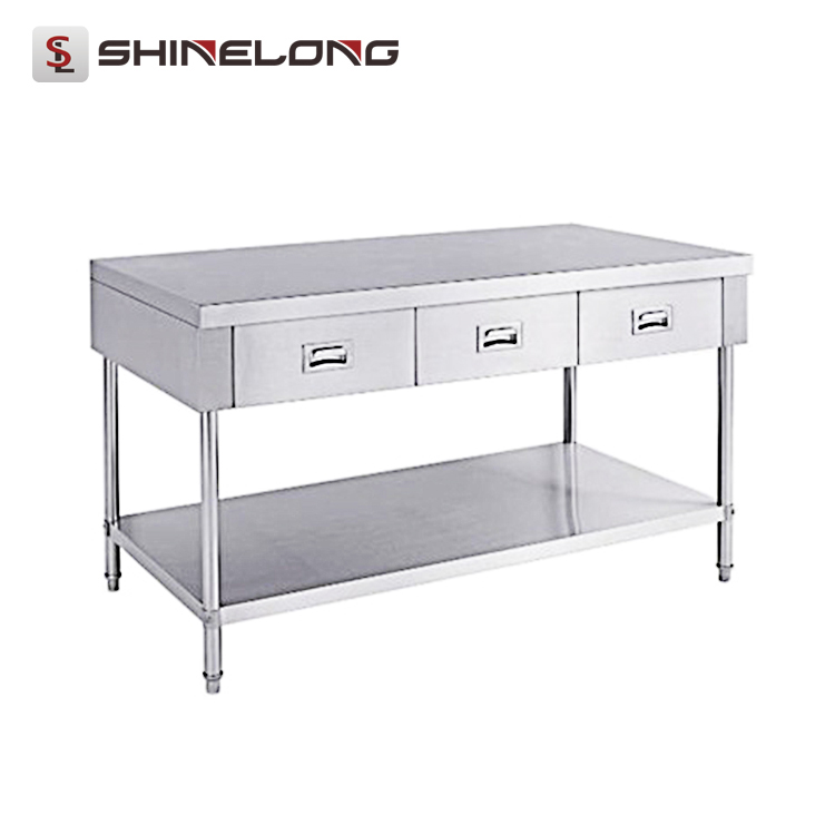 S056 Restaurant Stainless Steel Work Table With 3 Drawers Under Shelf