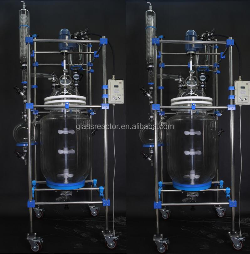 continuous stirred Distillation equipment 100l double wall glass reactor