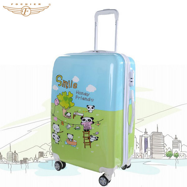 Hot selling abs pc cartoon pattern children travel trolley luggage bag