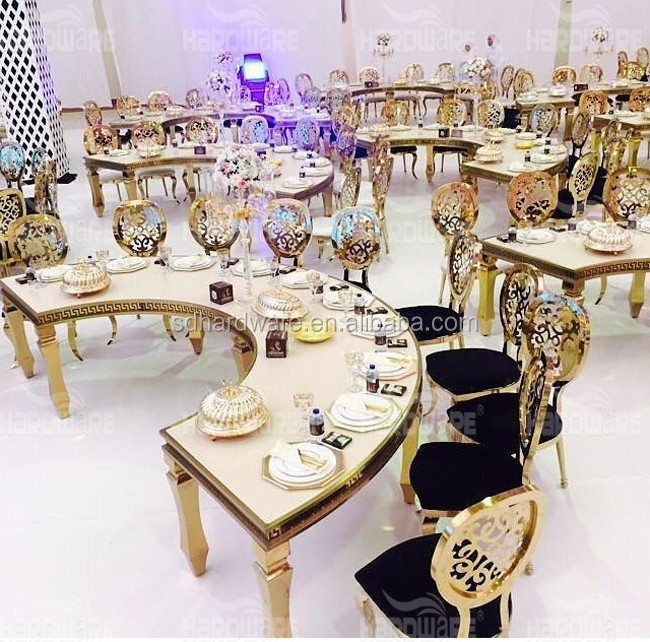 Commercial Metal Back Hotel Gold Stainless Steel Chairs