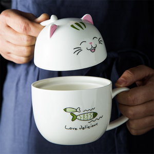 Cartoon Cat Heat-resistant Coffee Milk Ceramic Mugs with Lid Office Gifts