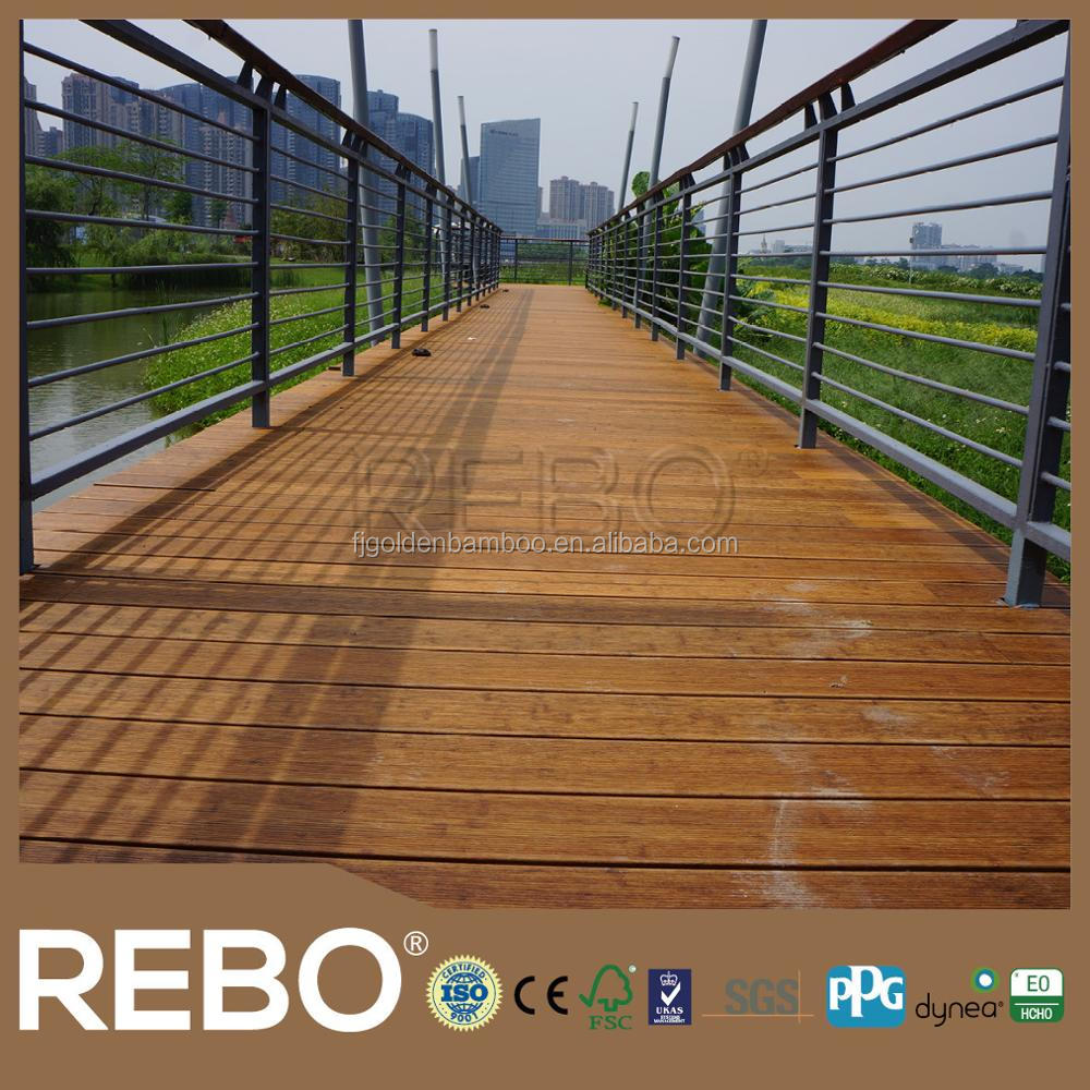 Waterproof strand woven bamboo panels for bridge building