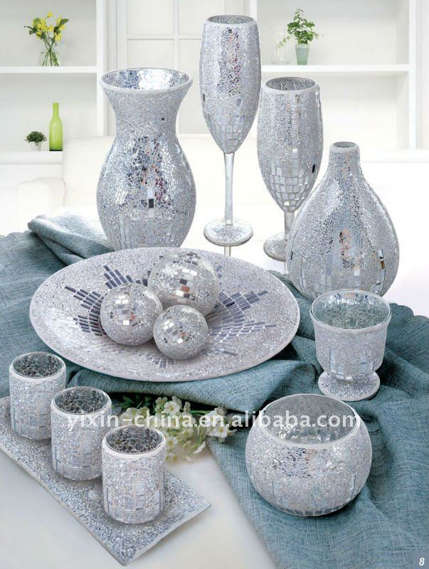 Silver Mirrored Glass Mosaic Vase With Candle Holder Setwedding