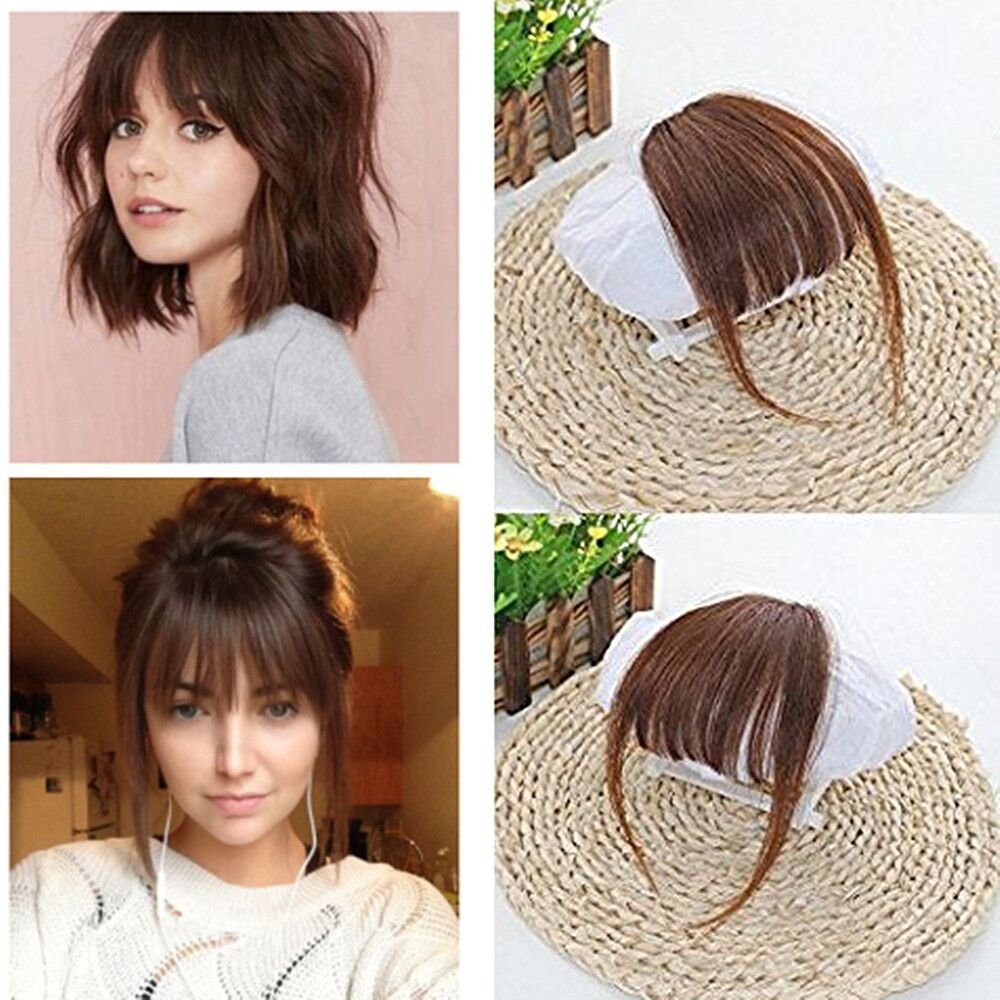 Buy Ugeat 100 Human Hair 6 Medium Brown Front Fringe With Hair Temples Clip In Hair Extensions One Piece Striaght Fringe Hairpiece Accessories In Cheap Price On Alibaba Com