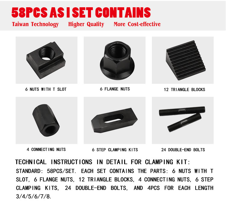58Pcs Clamping Nuts Step Block for Drilling Milling Machine M12 Stud 14mm  d ℂ