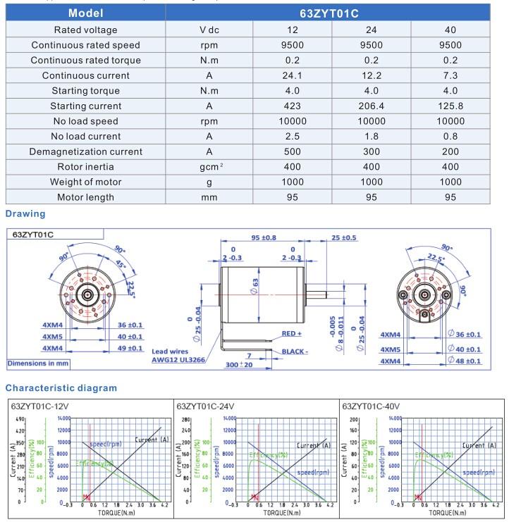 63mm 40v 24v 12v Dc Motor Specification China Original