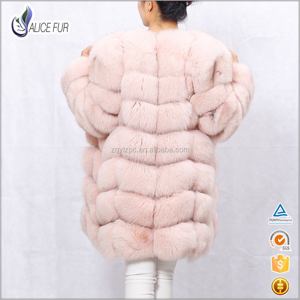 Factory OEM Service genuine natural winter pink real fox fur coat for women