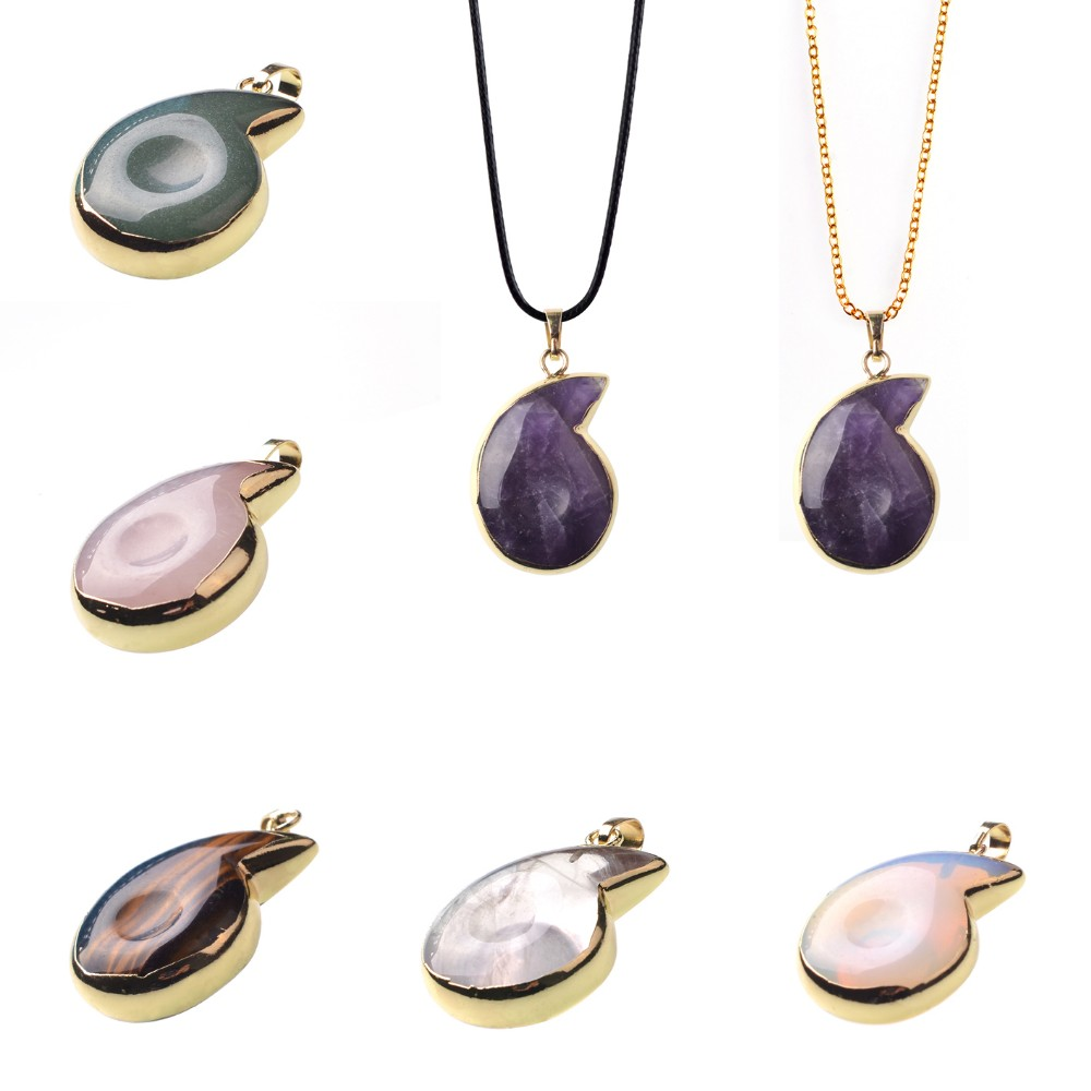 Charm Necklace Conch Shell Natural Crystal Precious Stone Jewellery Gold Pendant