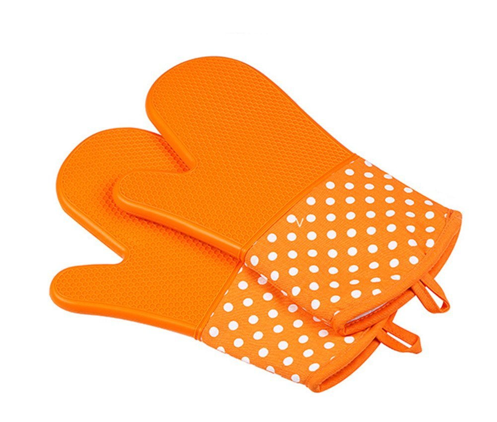 MOYI Silicone Oven Mitts 1 Pair of Heat Resistant Non-Slip Potholder Gloves for Cooking Baking Barbecue