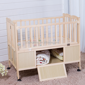 Baby Wooden Cot Factory Price New Design Nature Foldable With Drawer