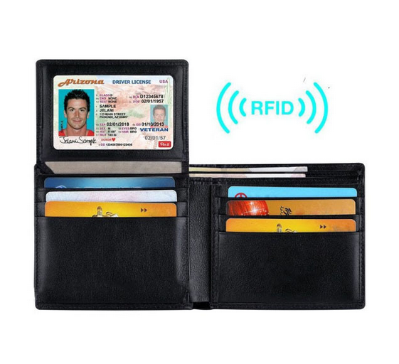 Free shipping short wallet genuine cowhide men's wallet rfid blocking leather wallet